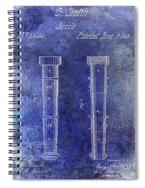 1860 Fire Hose Nozzle Patent Blue Spiral Notebook
