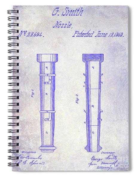 1860 Fire Hose Nozzle Patent Blueprint Spiral Notebook