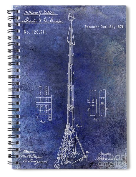 1871 Fire Hose Elevator Patent Blue Spiral Notebook