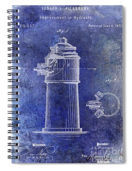 1871 Fire Hydrant Patent Blue Spiral Notebook