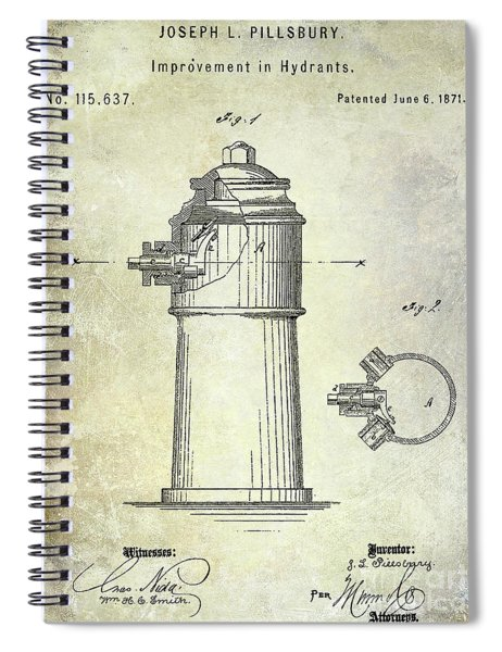 1871 Fire Hydrant Patent Spiral Notebook