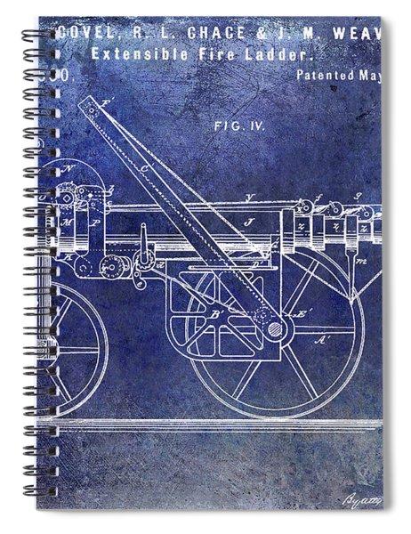 1875 Ladder Truck Patent Blue  Spiral Notebook
