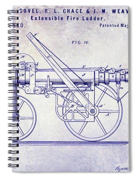 1875 Ladder Truck Patent Blueprint Spiral Notebook