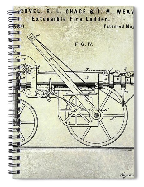 1875 Ladder Truck Patent Spiral Notebook
