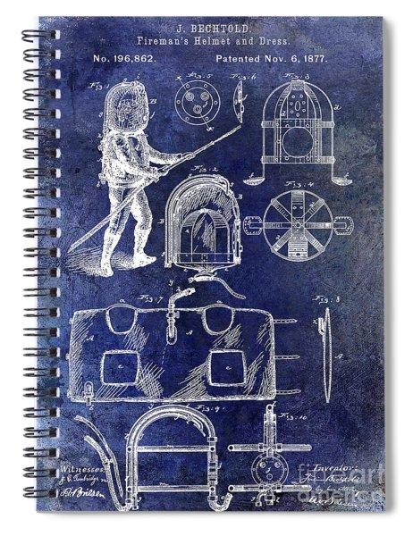 1877 Firemans Helmet And Dress Patent Blue Spiral Notebook