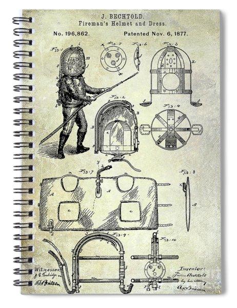 1877 Firemans Helmet And Dress Patent  Spiral Notebook