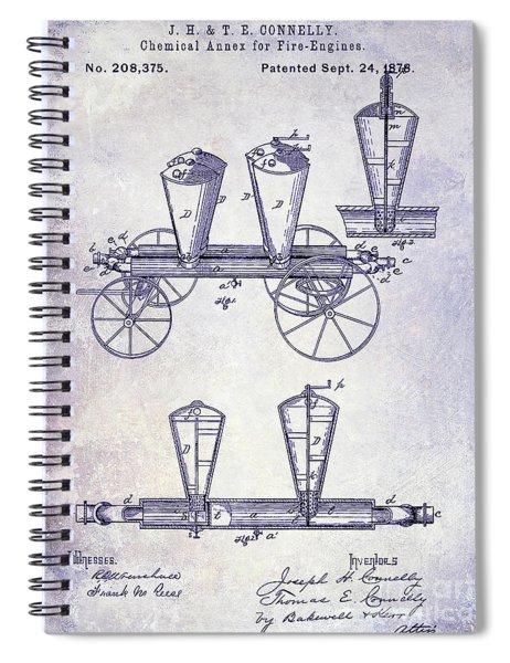 1878 Fire Truck Patent Blueprint Spiral Notebook