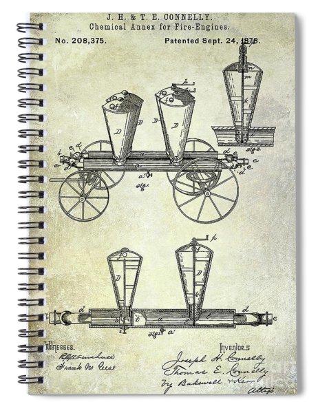 1878 Fire Truck Patent Spiral Notebook
