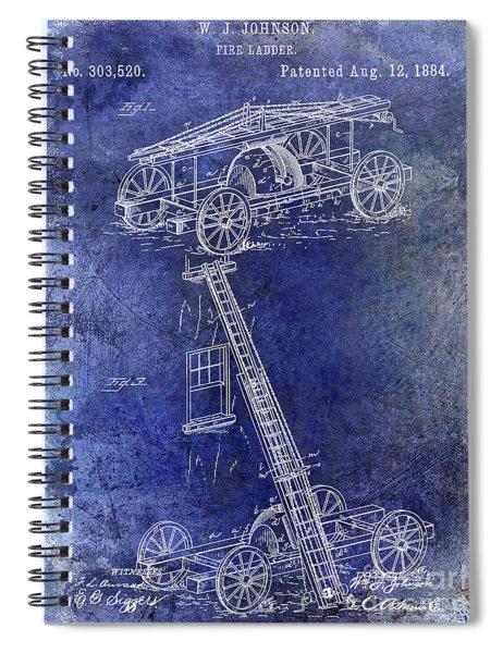 1884 Fire Ladder Truck Patent Blue Spiral Notebook
