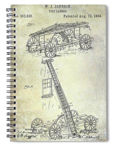 1884 Fire Ladder Truck Patent Spiral Notebook