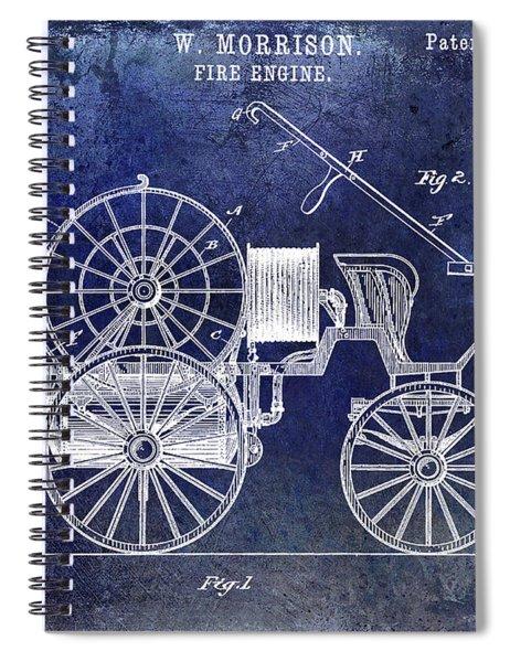1889 Fire Engine Patent Blue Spiral Notebook