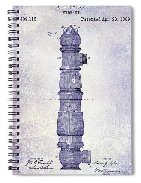 1889 Fire Hydrant Patent Blueprint Spiral Notebook