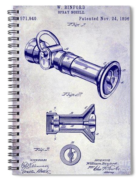 1896 Fire Hose Spray Nozzle Patent Blueprint Spiral Notebook