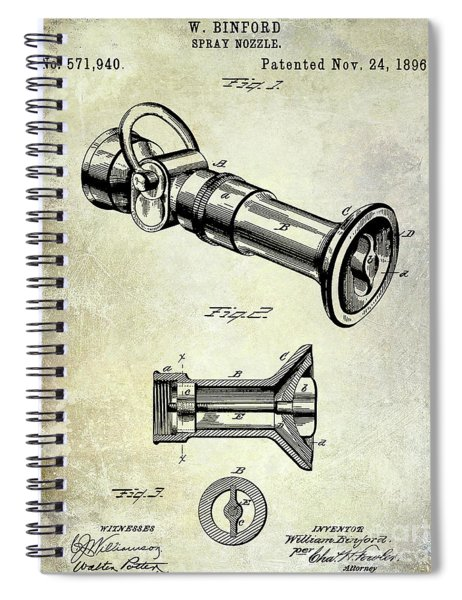 1896 Fire Hose Spray Nozzle Patent  Spiral Notebook