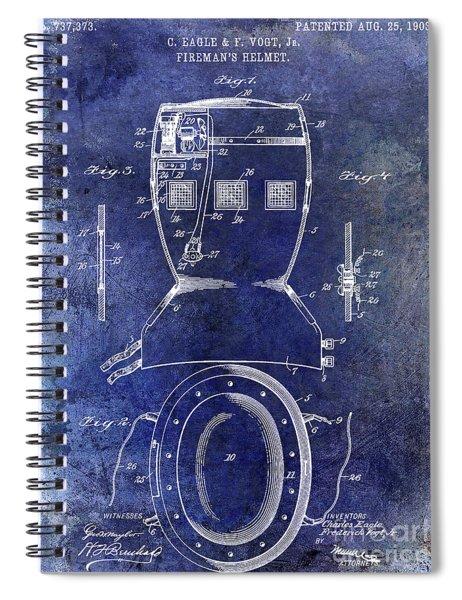 1903 Firemans Helmet Patent Blue Spiral Notebook