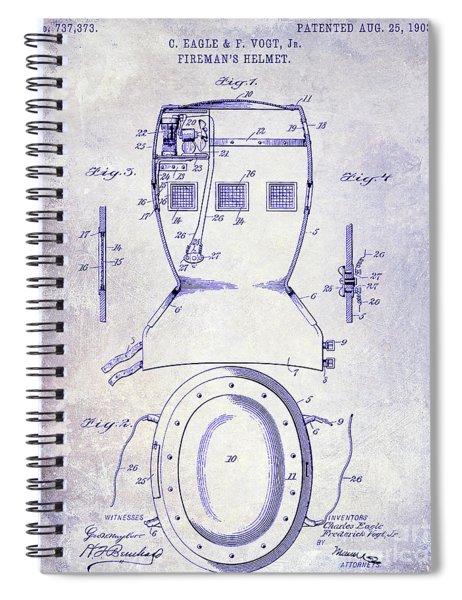 1903 Firemans Helmet Patent Blueprint Spiral Notebook