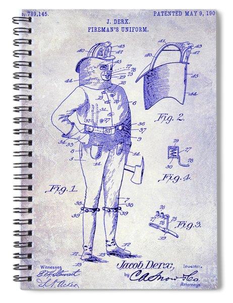 1905 Firemans Uniform Patent Blueprint Spiral Notebook