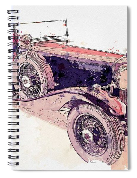1934 Armstrong Siddeley Special Cabriolet 30hp Open Tourer Watercolor By Ahmet Asar Spiral Notebook