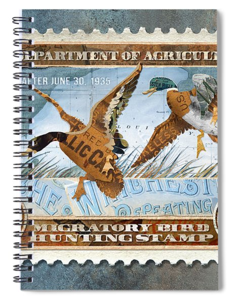 1934 Hunting Stamp Collage Spiral Notebook