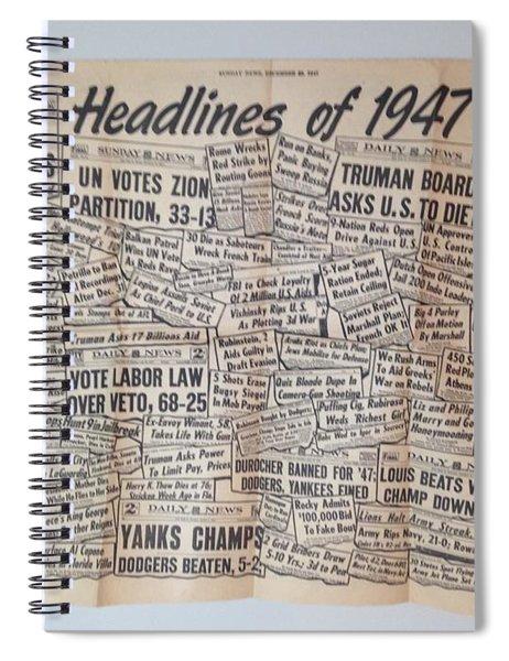 1947 Headlines Spiral Notebook