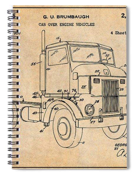 1950 Peterbuilt Cab Over Diesel Semi Truck Antique Paper Patent Print Spiral Notebook