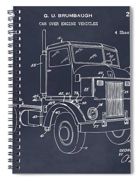 1950 Peterbuilt Cab Over Diesel Semi Truck Blackboard Patent Print Spiral Notebook