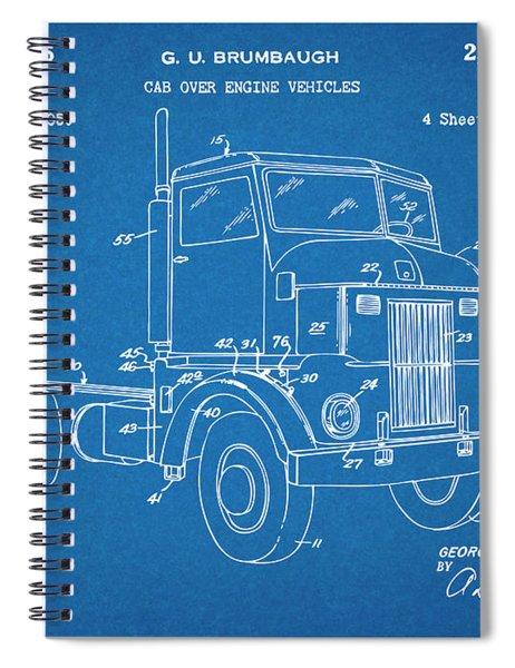 1950 Peterbuilt Cab Over Diesel Semi Truck Blueprint Patent Print Spiral Notebook