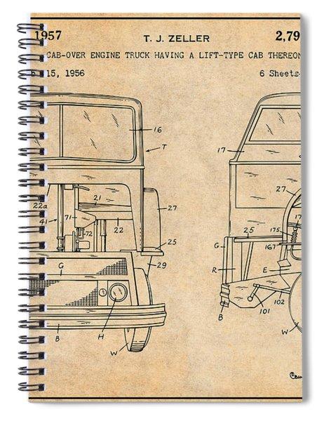 1956 Mack Cab Over Diesel Semi Truck Antique Paper Patent Print Spiral Notebook