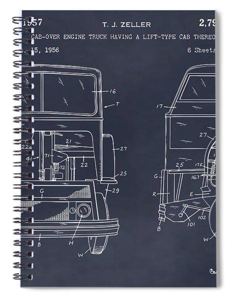 1956 Mack Cab Over Diesel Semi Truck Blackboard Patent Print  Spiral Notebook