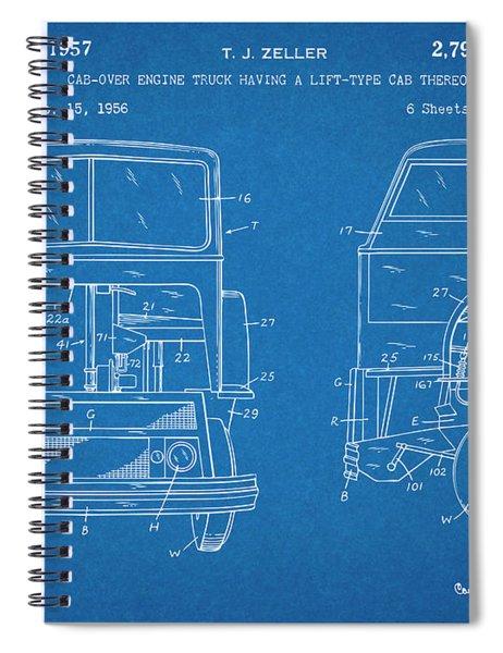 1956 Mack Cab Over Diesel Semi Truck Blueprint Patent Print Spiral Notebook