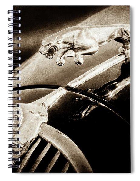 Spiral Notebook featuring the photograph 1964 Jaguar Mk2 Saloon Hood Ornament And Emblem-1421bscl by Jill Reger