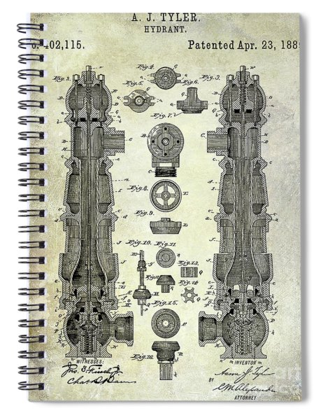 1889 Fire Hydrant Patent Spiral Notebook