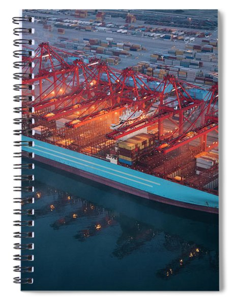 Aerial View Of A Commercial Dock, Long Spiral Notebook