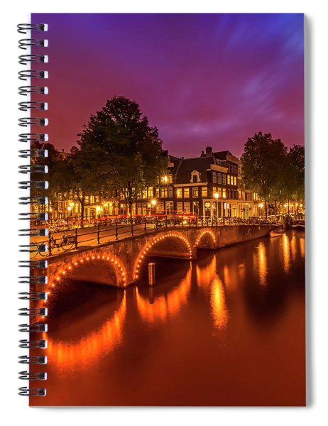Amsterdam Evening Impression From Brouwersgracht  Spiral Notebook by Melanie Viola
