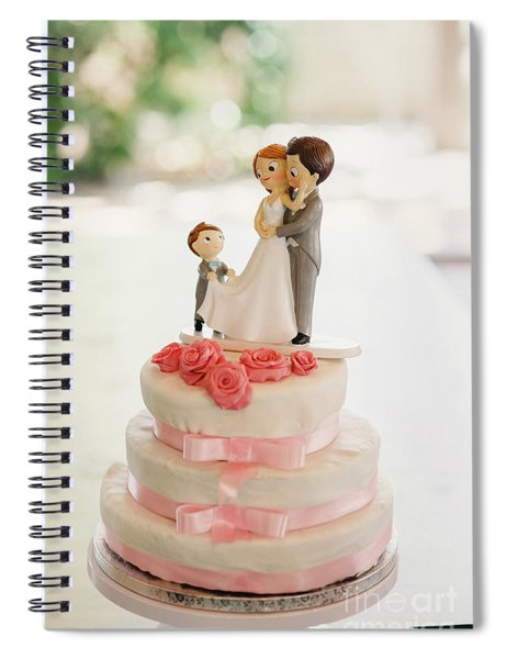 Desserts And Wedding Cake With Very Sweet Cupcakes At An Event. Spiral Notebook