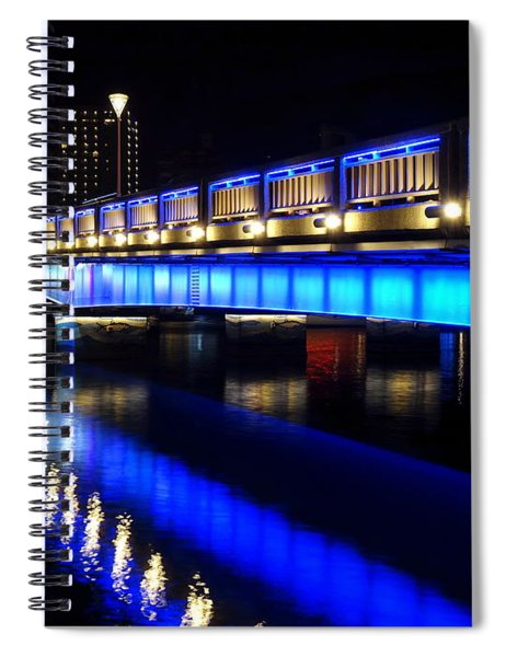 Evening View Of The Love River And Illuminated Bridge Spiral Notebook