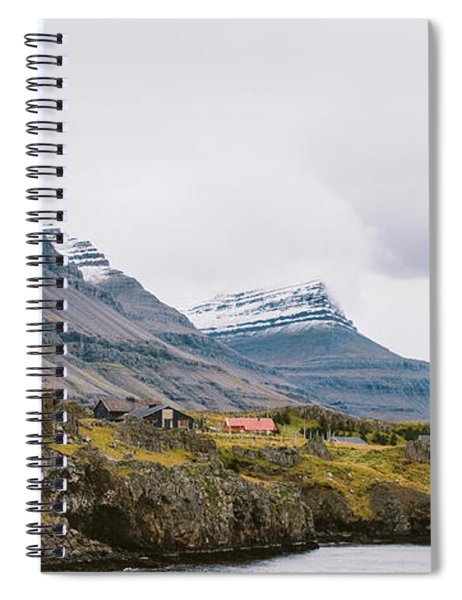 High Icelandic Or Scottish Mountain Landscape With High Peaks And Dramatic Colors Spiral Notebook