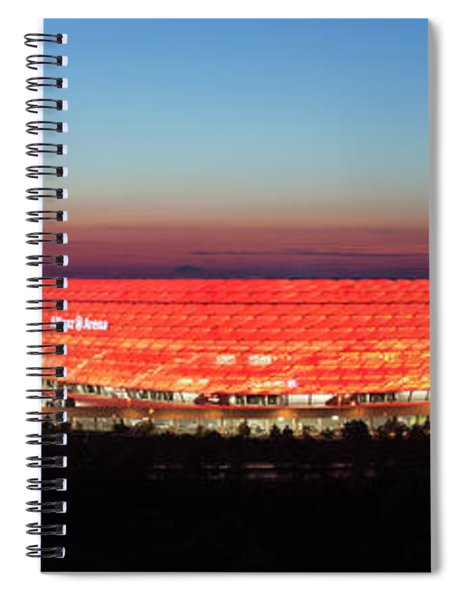 Soccer Stadium Lit Up At Dusk, Allianz Spiral Notebook