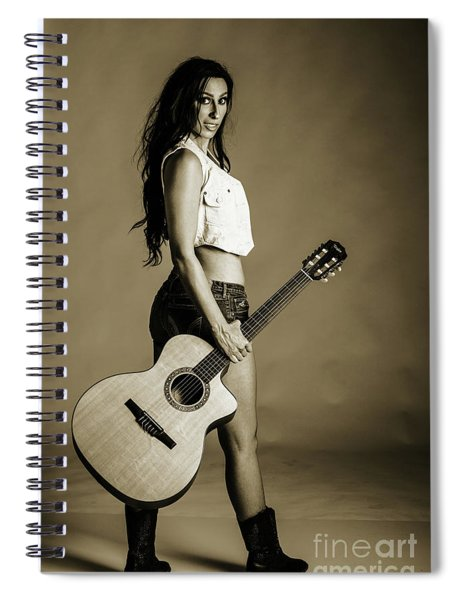 221.1855 Guitar Model In Black And White Photograph Spiral Notebook