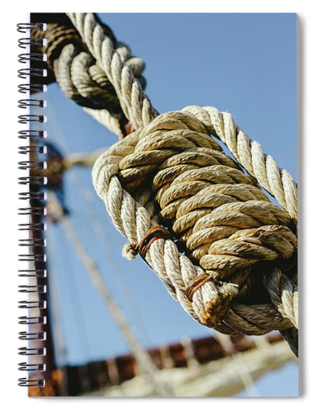 Rigging And Ropes On An Old Sailing Ship To Sail In Summer. Spiral Notebook