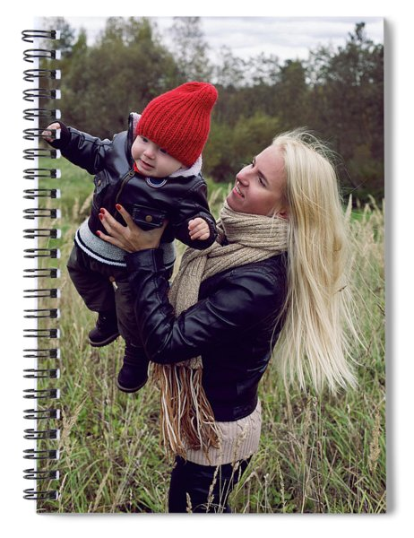 Mom And Son In Leather Jackets Walking On The Field Spiral Notebook