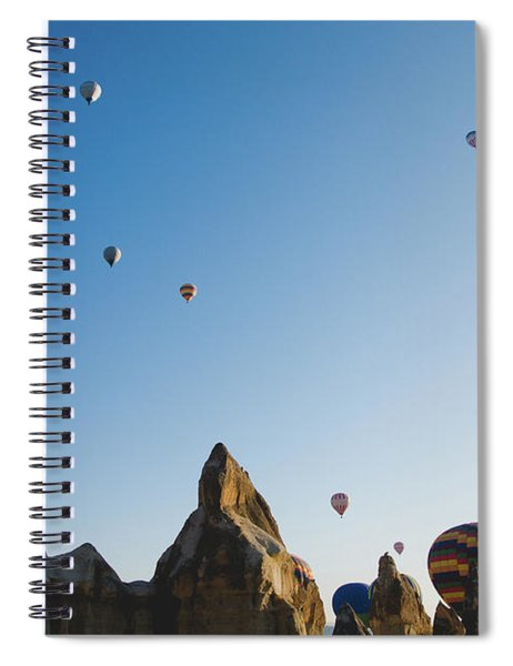 Colorful Balloons Flying Over Mountains And With Blue Sky Spiral Notebook