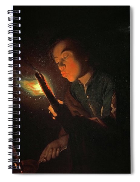 A Boy Blowing On A Firebrand To Light A Candle, 1698 Spiral Notebook