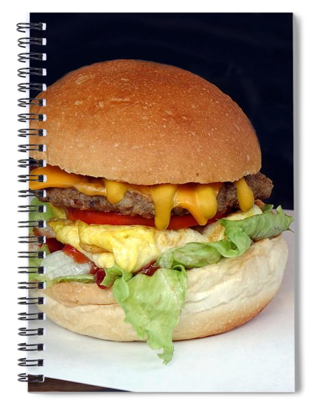 A Delicious Hamburger With Lettuce And Tomatoes Spiral Notebook