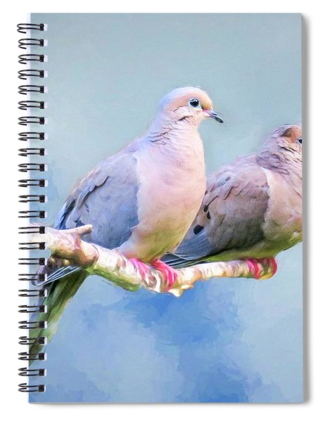 A Pair Of Mourning Doves Perching On A Branch. Spiral Notebook