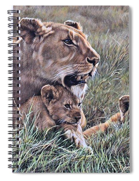 Spiral Notebook featuring the painting A Quiet Moment Lioness And Lion Cubs by Alan M Hunt