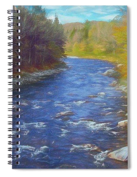 A River Flowing Through Autumn Forest. Spiral Notebook