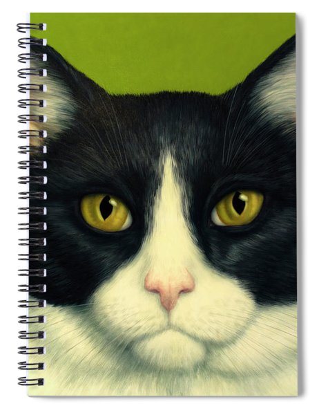 Spiral Notebook featuring the painting A Serious Cat by James W Johnson