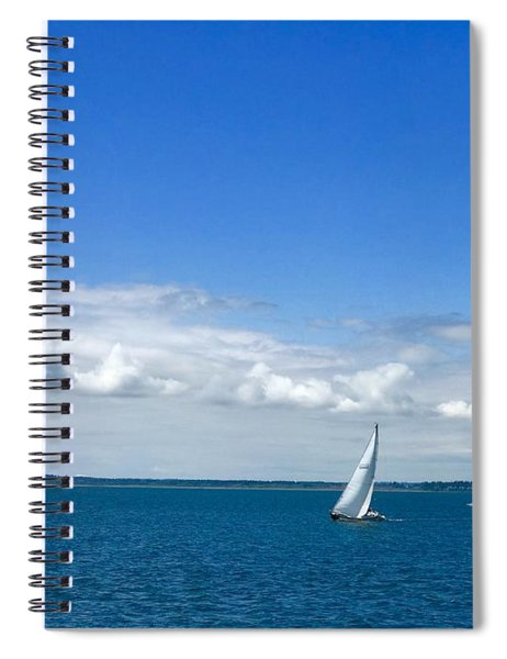 A Single Sailboat In Blue Spiral Notebook