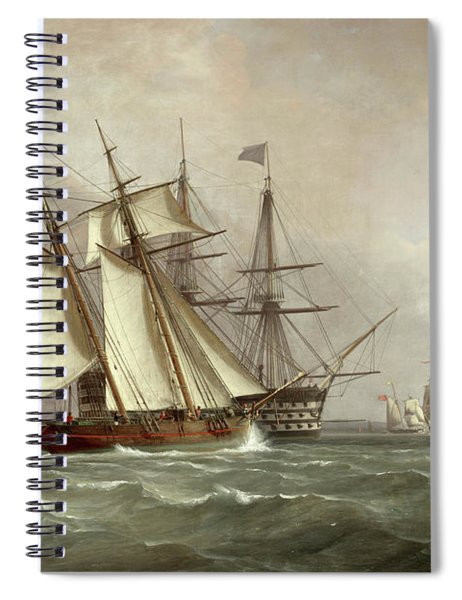 A Trading Schooner Overhauling A First Rate Off Garrison Point, Sheerness Spiral Notebook